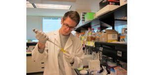 Joshua Newman in the lab