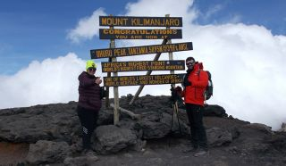 Gillian and georgios at the top of kilimanjaro