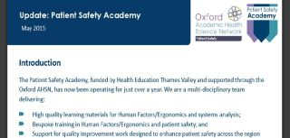 Patient safety academy one year on