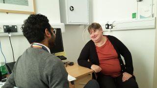 A DFP study volunteer with trial coordinator Tony Thayanandan