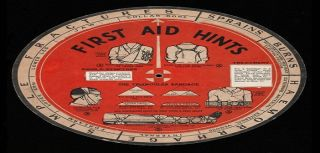 First Aid wheel chart showing the correct procedures for various accidents such as simple fractures, burns, sprains and haemorrage ca.1935.