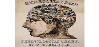 A head containing over thirty images symbolising the phrenological faculties, c. 1845, after O.S. Fowler (?).
