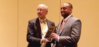 Pradeep Kumar Sacitharan (right) receives his ASBMR Young Investigator Award 2016, in Atlanta, USA.