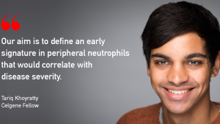 We would like to congratulate Tariq Khoyratty, who has been appointed as a Celgene Fellow to study the link between neutrophil chromatin organisation in rheumatic patients and their ability to form pathogenic extracellular traps.