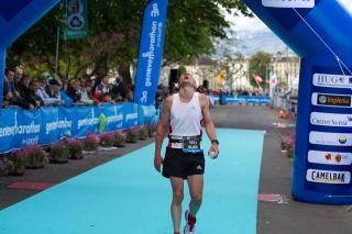 Man at finishing line