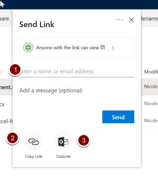 Screenshot showing send link sharing options