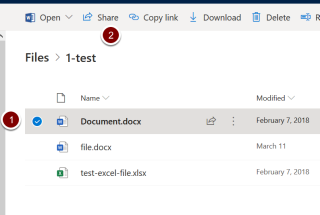 Screenshot showing location of sharing link in OneDrive