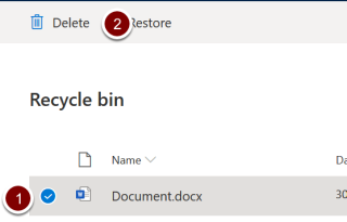 Screenshot showing the location of the delete icon in the recycle bin