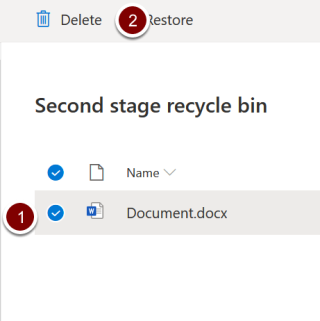 Screenshot showing location of the delete icon in the second stage recycling bin