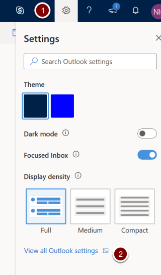 Screenshot showing the location of the cog icon and outlook settings link in office 365