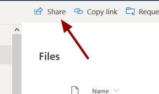 Screenshot showing the location of the share link in OneDrive