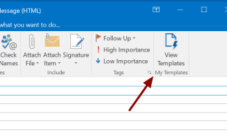 Screenshot showing location of the My Template option in Outlook 2016