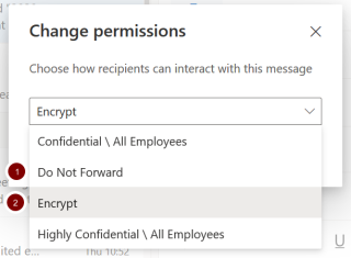 Screenshot showing the different permission options in Outlook 365