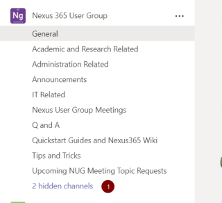 Screenshot showing channels in a Team