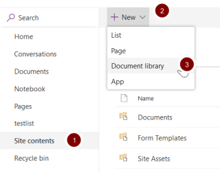 Screenshot showing the location of the new document library link