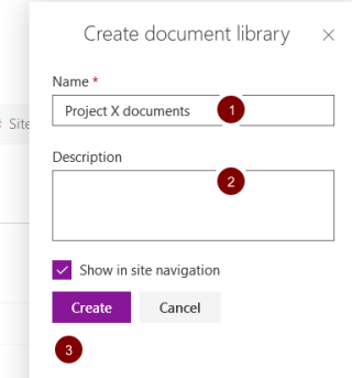 Screenshot of the create document library screen