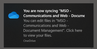 Screenshot of the document library syncing message