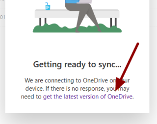 Screenshot of the get the laterst version of OneDrive link