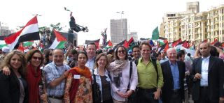 The GMF team and stakeholders at Tahrir Square in Cairo