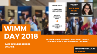 The MRC WIMM Annual Science Away Day on Friday, 20 April 2018at the Saïd Business School is a great opportunity to catch up on all the excellent science that is in the MRC WIMM, network and meet the Scientific Advisory Board. Please make every effort to attend and help make this a lively and interactive day.