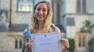 Deniz Gursul won the Inez Oliver Prize for an outstanding essay on how brain imaging is used for measuring pain in babies, and how it can assist in developing pain relief measures.