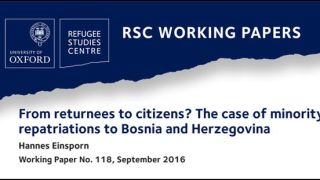 New working paper on reintegration outcomes of forced migrants at the local level, focusing on Bosnia and Herzegovina