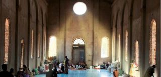 Sudanese IDPs from Abyei shelter in the church of Mayen Abun