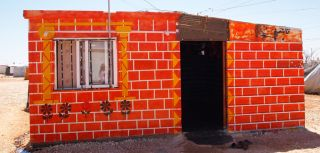 Decorated caravan, home to a Syrian refugee living in Za'atari refugee camp, Jordan