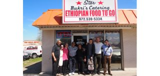 The HIP team outside a refugee-owned Ethiopian restaurant