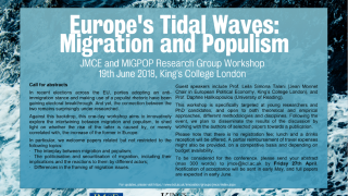 Call for papers for europes tidal waves migration and populism jmce and migpop research group workshop