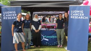 A photo taken at the Headington Festival 2019 in which the Ludwig Oxford public engagement volunteers are posing in front of the Ludwig stand. The stand is set up under a gazebo, with two Ludwig Cancer Resarch pull-up banners framing the stand.