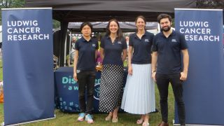 A photo taken at the Headington Festival 2019 in which the second set of Ludwig Oxford public engagement volunteers are posing in front of the Ludwig stand. The stand is set up under a gazebo, with two Ludwig Cancer Resarch pull-up banners framing the stand.