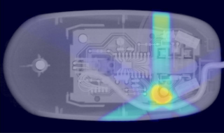 X-ray of a computer mouse undergoing radiotherapy treatment.