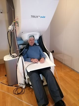 A volunteer participant undergoing a brain scan.