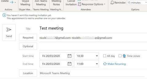 Screenshot showing the new meeting window in Outlook