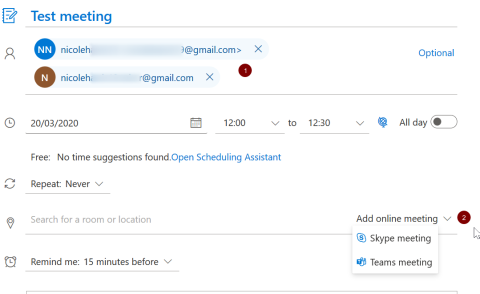 Screenshot showing the meeting invite screen in Outlook for the web