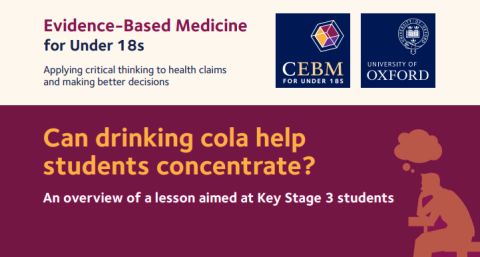 Info-graphic style image showing CEBM and Oxford Uni logos and the question 'Can drinking cola help students concentrate? An overview of a lesson aimed at Key stage 3 students' against a maroon banner.