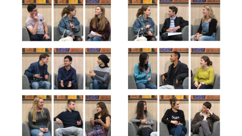 Photos of students sitting down facing different ways