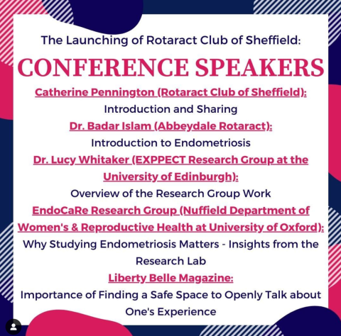 The Rotaract Club of Sheffield held a mini-conference on endometriosis that included a number of educational and inspiring speakers, inlcuding EndoCaRe Centre DPhil researcher Magda Marečková who gave a talk entitled: Why studying endometriosis matters - insights from the research lab.