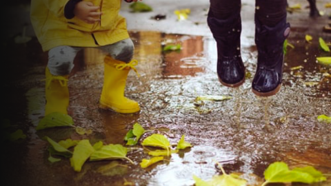 Children in wellies on wet pavement
