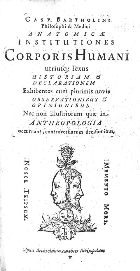 Title page of Institutions of Anatomy with an engraving featuring a double faced (male and female) head over a skull