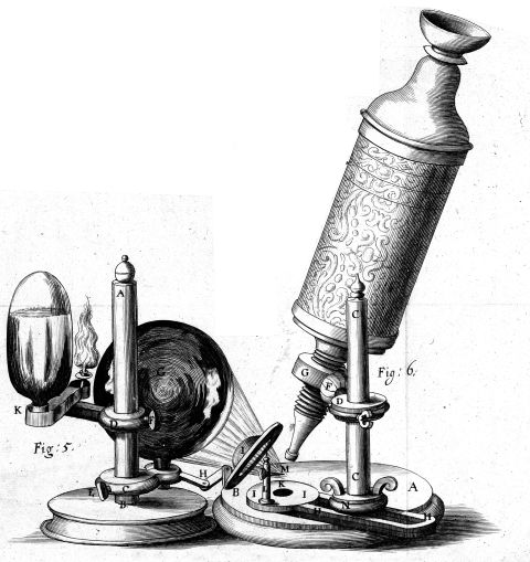 An intricately engraved microscope