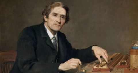 Painting of John Burdon Sanderson at a desk