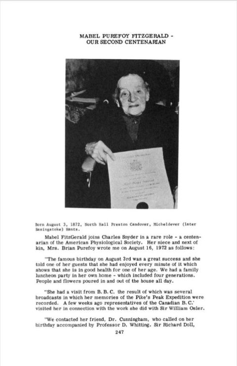 Mabel Purefoy FitzGerald - our second centenarian - she is pictured after receiving her MA degree from Oxford at 100 years old in an article commemorating her achievements