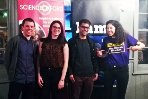 Photo of FameLab 2019 finalist Danielle Perro and other finalists.