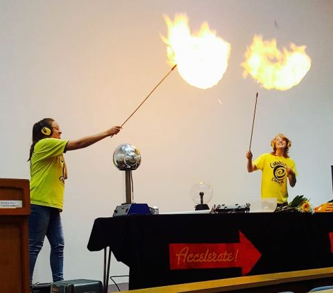 Exploding hydrogen balloons at the 'Accelerate' show