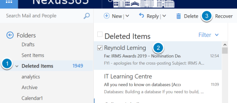 Screenshot showing the deleted items folder in Outlook online