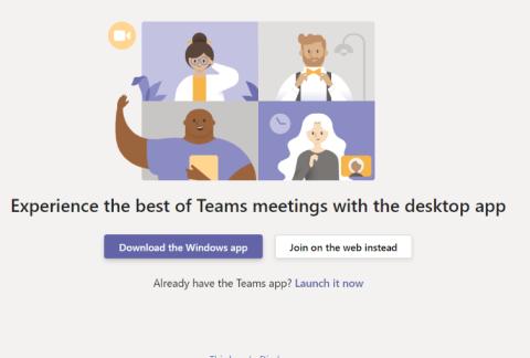 Screenshot of joining a Teams meeting