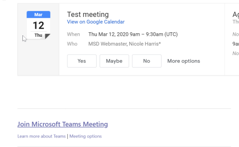 Screenshot of invite to a Teams meeting