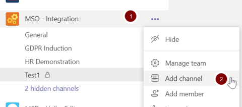 Screenshot showing the location of the new channel option in Teams
